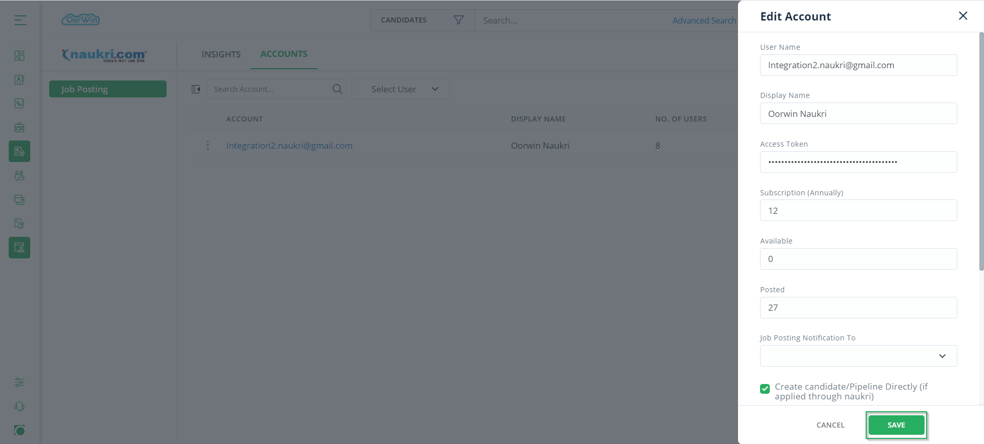Give Credentials - Oorwin ATS Integration with Naukri - Oorwin