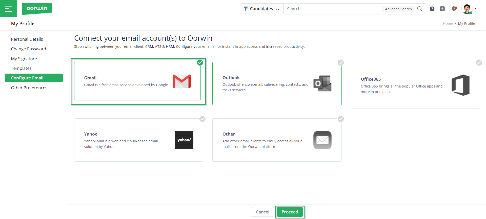 Choose Email Provider - Configure Personal Details - Oorwin